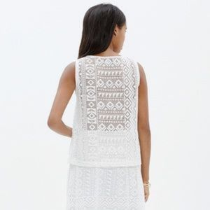 Madewell Geo Lace Tank White Eyelet Embroidered Sh